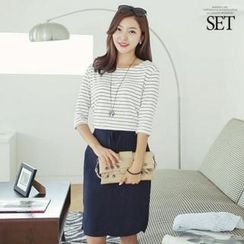 Soneed - Set: Boat-Neck Striped T-Shirt + Drawstring-Waist Linen Blend Skirt
