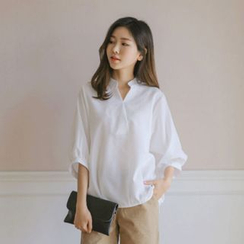 JUSTONE - Balloon-Sleeve Button-Back Blouse