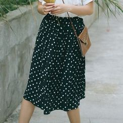 sansweet - Polka Dot Midi Skirt