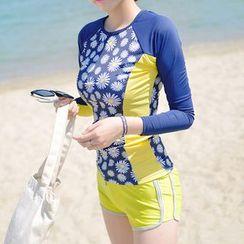 Roseate - Set: Floral Print Rashguard + Swim Shorts