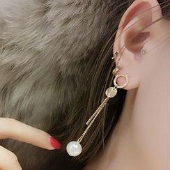 Jael - Pearl Non-matching Drop Earrings / Ear Cuffs