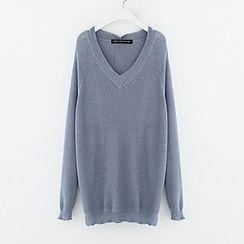 Meimei - Plain V-Neck Sweater