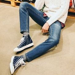 MEOSIDDA - Washed Tapered Jeans