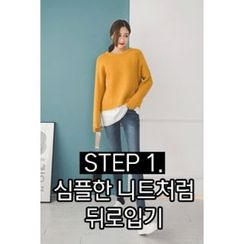 migunstyle - Round-Neck Zip-Up Cardigan
