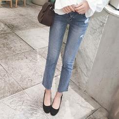 mimi&didi - Fray-Hem Washed Straight-Cut Jeans