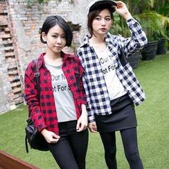 Tokyo Fashion - Faux-Leather-Pocket Check Shirt