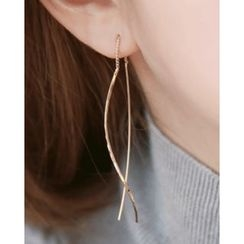 Miss21 Korea - Wavy Dual-Bar Earrings