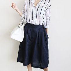 NANING9 - Cropped Wide-Leg Linen Pants