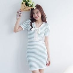 Tokyo Fashion - Short-Sleeve Tie-Neck Striped Knit Dress