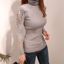 DABAGIRL - Turtle-Neck Laced Rib-Knit Top