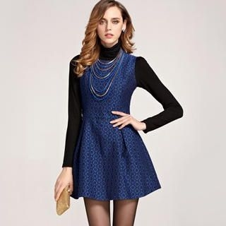 Moonbasa - Sleeveless Jacquard Sheath Dress