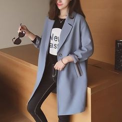 Cocofield - Plain Long Notch Lapel Coat