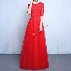 Luxury Style - Elbow-Sleeve Evening Dress