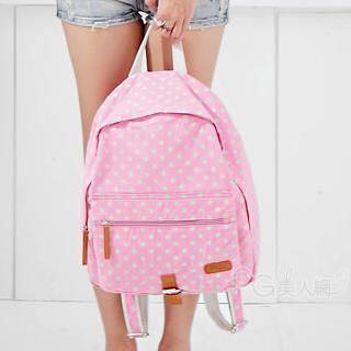 PG Beauty - Faux Leather Trim Dotted Backpack