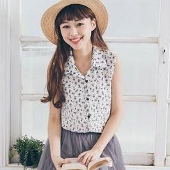 Tokyo Fashion - Sleeveless Print Blouse