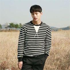 BYMONO - Stripe Brushed-Fleece Lined Sweatshirt