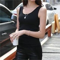 CHICFOX - Brushed-Fleece Lined Tank Top