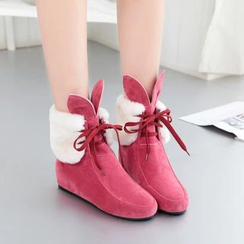 Pastel Pairs - Hidden Wedge Fleece Lace Up Short Boots