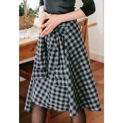 REDOPIN - Tie-Waist Checked Skirt