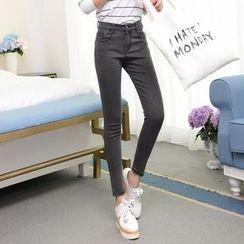 Denimot - 纯色高腰窄身牛仔裤