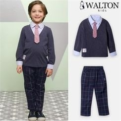 WALTON kids - Boys Set: Inset Shirt Knit Top + Checked Pants