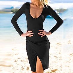 Fashion Street - Long-Sleeve Deep V Slit Bodycon Dress