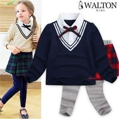 WALTON kids - Girls Set: Inset Shirt Top + Inset Plaid Skirt Leggings