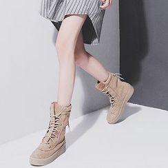 Sonne - Faux-Suede Platform Short Boots