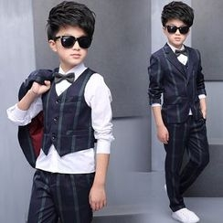 Pegasus - Kids Set : Plaid Blazer + Vest + Shirt + Pants + Bow Tie