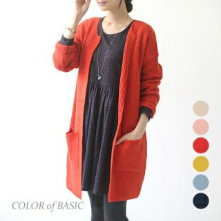 COLOR of BASIC - Open-Front Long Knit Coat