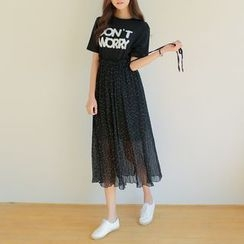 WITH IPUN - Suspender Dotted Chiffon Skirt