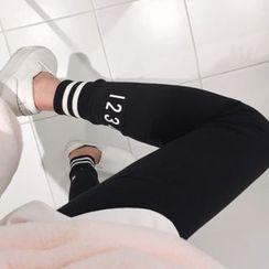 DISCOSALON - Contrast-Trim Leggings