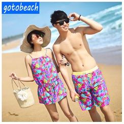 Sunset Hours - Print Bikini + Cover-Up Set / Matching Couple Men Swim Shorts