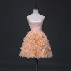 Gracia - Feather-Detail Mini Prom Dress
