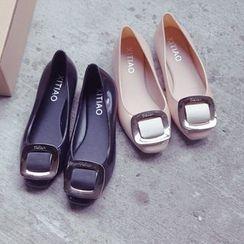 Chryse - 飾扣果凍平跟鞋