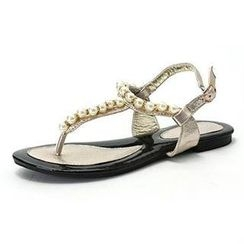 MODELSIS - Faux-Pearl Thong Sandals