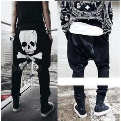 Bay Go Mall - Skull Print Harem Pants