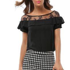 LIVA GIRL - Lace Panel Short Sleeve Chiffon Top