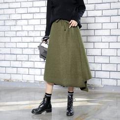 Sonne - 不規則絨毛呢抽繩毛邊半身裙