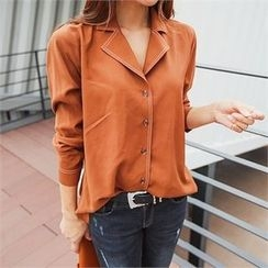 ERANZI - Notched-Lapel Stitched Blouse