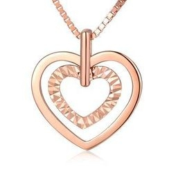 MBLife.com - Left Right Accessory - 14K/585 Rose Gold Heart in Heart Necklace 16'