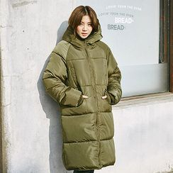 chuu - Hooded Zip-Up Long Puffer Coat