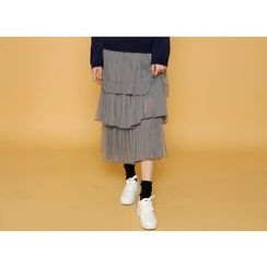 Envy Look - Tiered-Pleated Long Tule Skirt