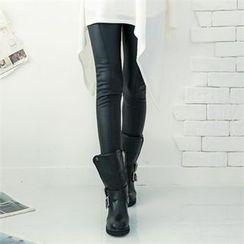GLAM12 - Faux-Leather Fleece-Lined Leggings
