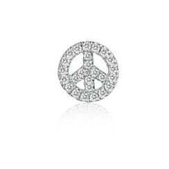 MBLife.com - Left Right Accessory - 9K White Gold Hollow Peace Sign Pave Diamond Single Stud Earring (0.06cttw)