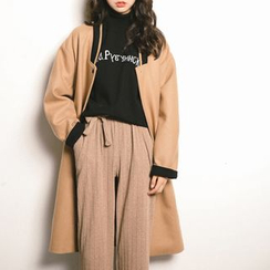 Porta - Panel Embroidered Letter Long Knit Jacket