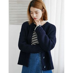 FROMBEGINNING - Round-Neck Rib-Knit Cardigan