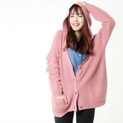 Miss Look - Hooded Rib-Knit Cardigan