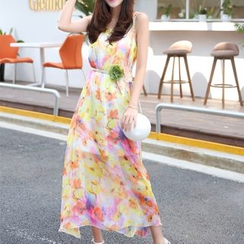 MayFair - Floral Print Midi Chiffon Sundress