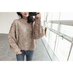 UPTOWNHOLIC - Mock-Neck Glittered Thick Sweater